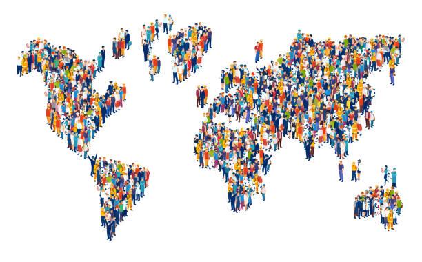 wektor tłumu wielokulturowych ludzi tworzących mapę świata - globalny stock illustrations
