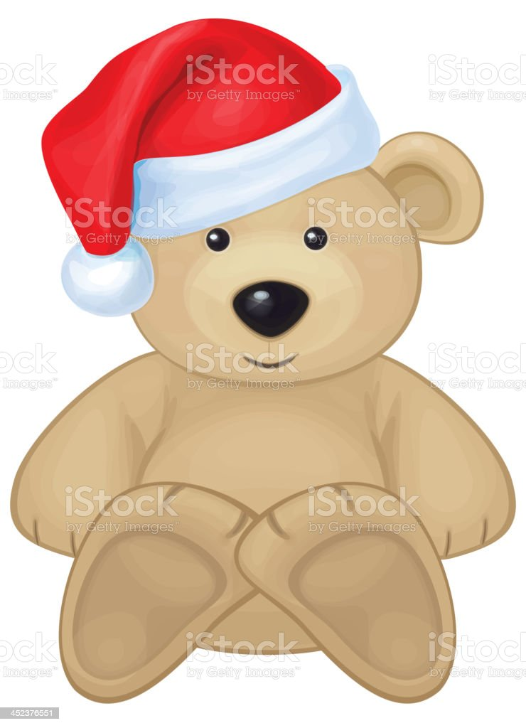 Vector of cute brown bear in red Santa's hat isolated. vector art illustration