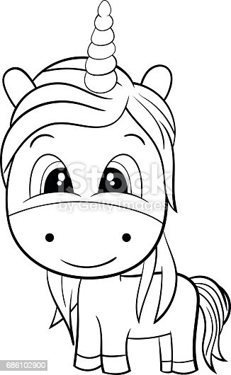 Vector Of Cute Cartoon Black And White Unicorn Eps8 stock