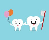 Vector of Cute healthy white teeth family for Health care
