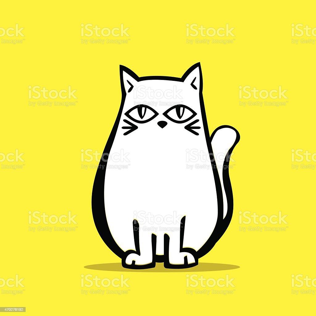 Vector of Cute White Chubby Cat vector art illustration