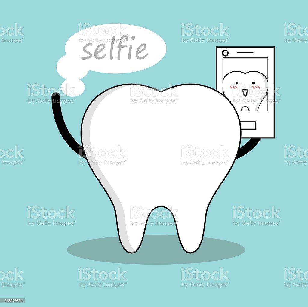 Vector of Cute white tooth taking selfie vector art illustration