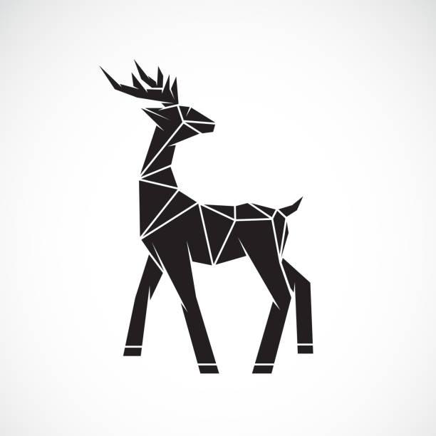 ilustraciones, imágenes clip art, dibujos animados e iconos de stock de vector de diseño de ciervos sobre fondo blanco. animales salvajes. logotipo o icono de ciervo. ilustración vectorial de capas editable fácil. - reno mamífero
