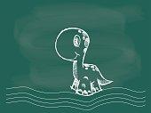 Vector of Dinosaur drawing on the blackboard chalk
