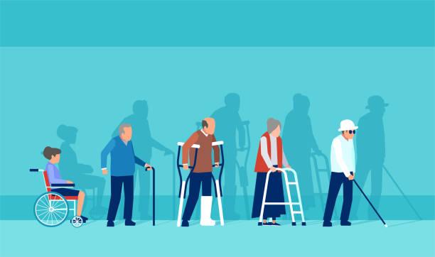 Vetor dos povos sênior deficientes incapacitados - ilustração de arte em vetor