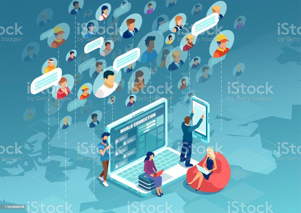Vektor unterschiedlicher Menschen, die sich mit moderner Technologie auf der ganzen Welt verbinden - Lizenzfrei Anwerbung Vektorgrafik
