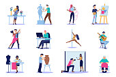 istock Vector of diverse people with creative artistic occupations isolated on white background 1254589617