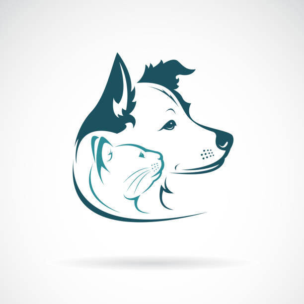 vector of dog and cat head design on a white background. pet. animal. easy editable layered vector illustration. - pets and animals stock illustrations
