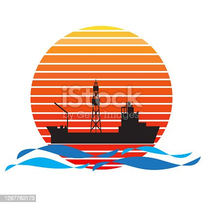 Vector of drillship on sea and sunset in background. Oil and gas company silhouette logo illustration design