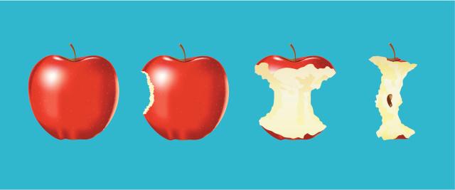 Vector of Eaten apple on blue background