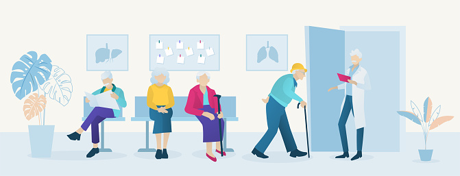 Vector of elderly patients waiting doctor appointment time at geriatrics clinic
