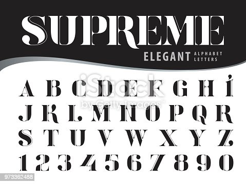 Vector of Elegant Alphabet Letters and numbers, Modern Serif Style fonts, Vintage and retro typography, Didot typeface, Black Letters set for Dollar Bill, Money, Currency, Label, Classical, Superior, Honour, Antique, Supreme
