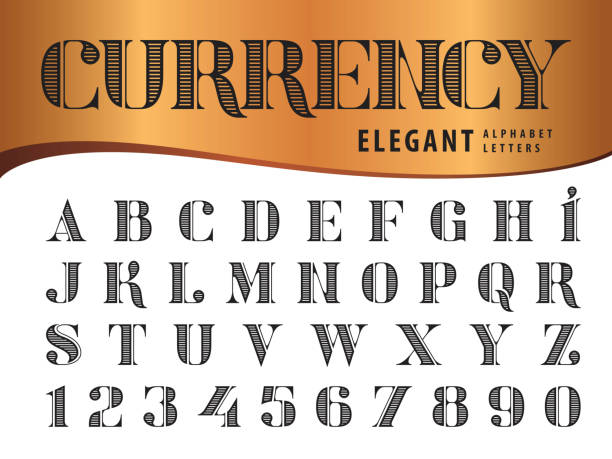 Vector of Elegant Alphabet Letters and numbers, Modern Serif Style fonts, Didot Vector of Elegant Alphabet Letters and numbers, Modern Serif Style fonts, Vintage and retro typography Vector of Elegant Alphabet Letters and numbers, Modern Serif Style fonts, Vintage and retro typography, Didot typeface, Line Letters set for Dollar Bill, Money, Currency, Label, Classical, Superior, Honour, Antique, Supreme money stock illustrations