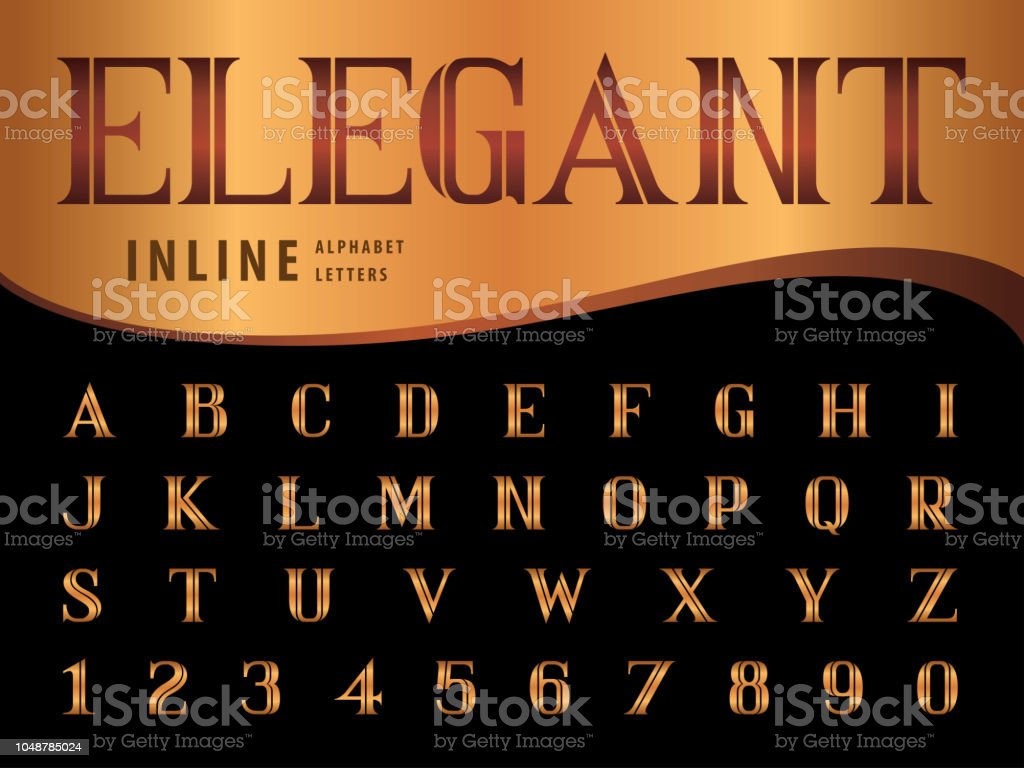 Vector Of Elegant Alphabet Letters And Numbers Serif Inline Fonts