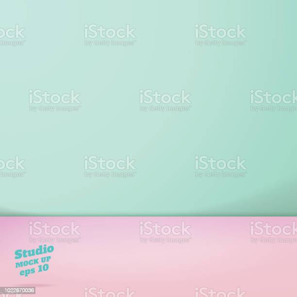 Vector of empty pastel green and pink two tone color studio room vector id1022670036?b=1&k=6&m=1022670036&s=612x612&h=brrp1cpd745sqwaqif8mmhw39qlwwqmf9n7ipfomjvw=