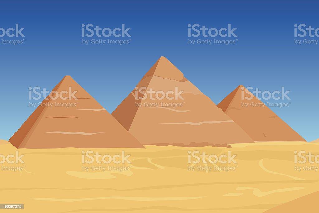 vector of famous egyptian pyramids vector art illustration