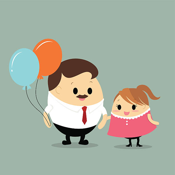 Vector of father and daughter with colorful balloons vector art illustration