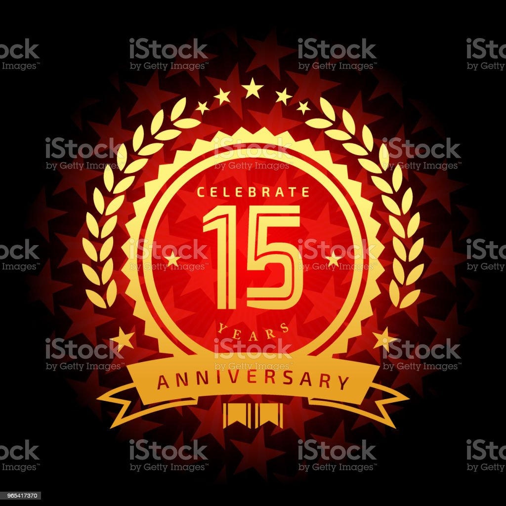 Fifteen year anniversary icon with red color star shape background fifteen year anniversary icon with red color star shape background - stockowe grafiki wektorowe i więcej obrazów baner royalty-free