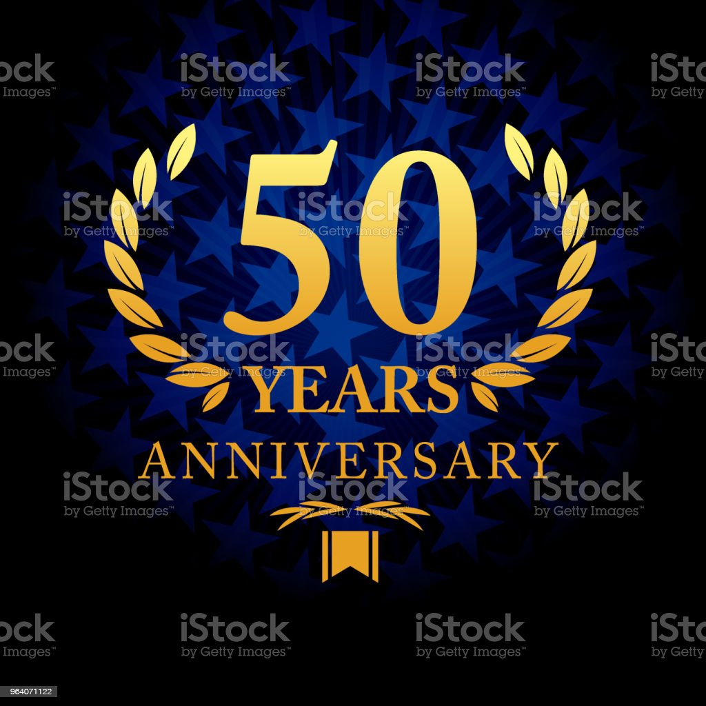 Fifty years anniversary icon with blue color star shape background - Royalty-free 50th Anniversary stock vector