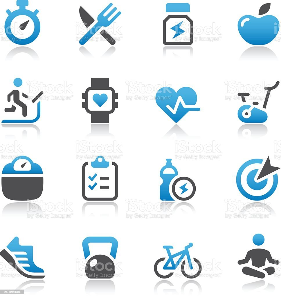 Vector of fitness and health icons vector art illustration