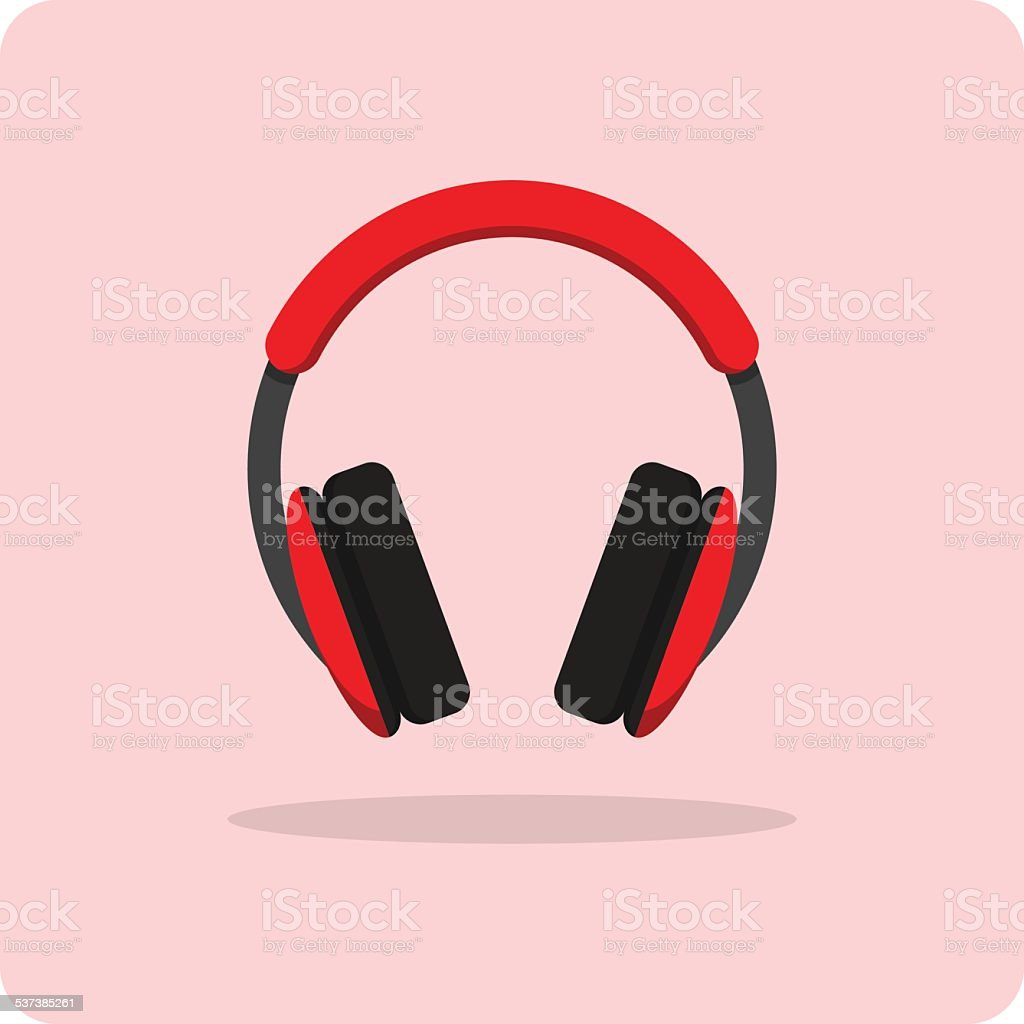 Vector of flat icon, headphones vector art illustration