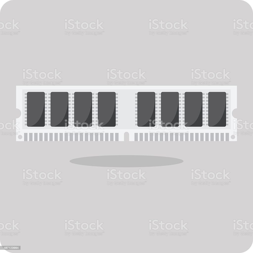 Vector of flat icon, ram memory for computer vector art illustration