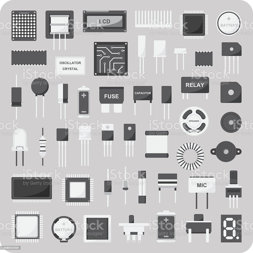 Vector Of Flat Icons Basic Electronic Circuit Board Set Stock Design Royalty Free