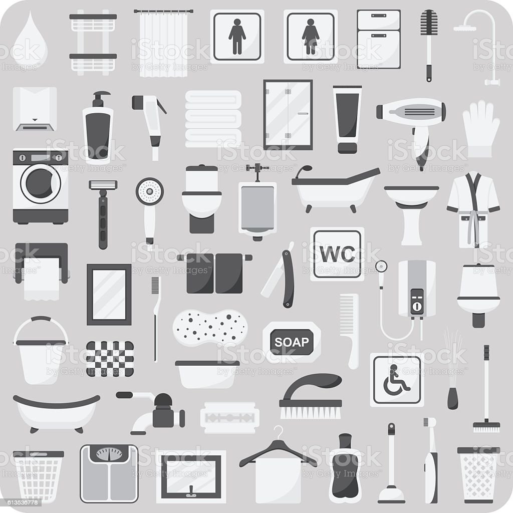 Vector of flat icons, Bathroom and toilet set vector art illustration