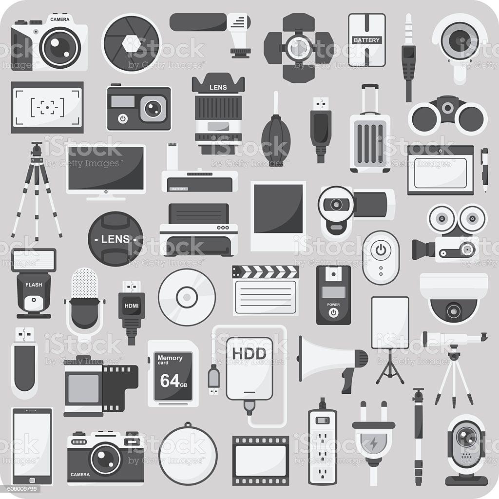 Vector of flat icons, Camera set vector art illustration