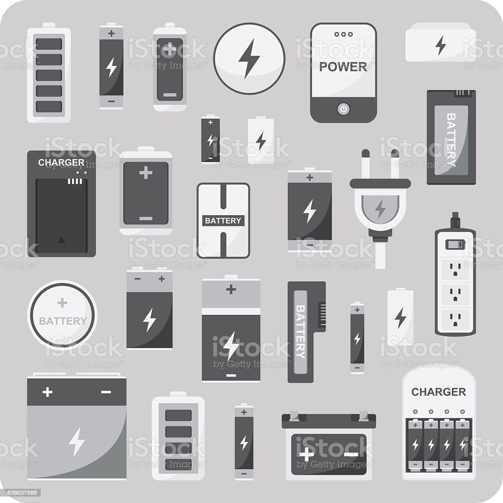 Vector of flat icons, Different battery set vector art illustration