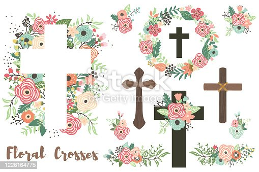 A vector illustration of Floral Crosses Elements Set, Florals Cross and Holy Spirit. Perfect for invitation, web design, scrapbooking, papers, card making, stationery, card and many more.