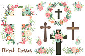 istock A Vector Of Floral Crosses Elements Set 1226164775
