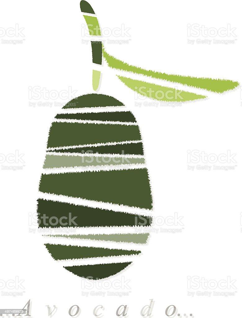 Vector of fruit, avocado icon vector art illustration