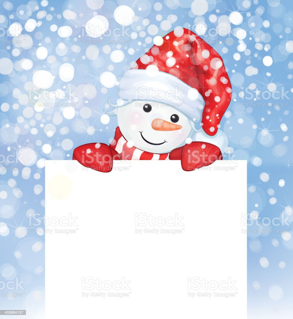 Vector of fun snowman hiding by blank on snowfall background. royalty-free stock vector art