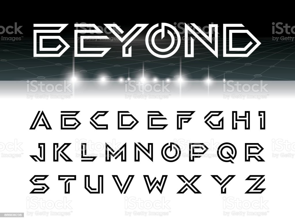 Vector Of Futuristic Font And Alphabet Letters Set For Scifi