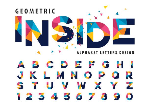 bildbanksillustrationer, clip art samt tecknat material och ikoner med vektor av geometriska alfabetet bokstäver och siffror, modern färgglada triangel letter - traditionell festival