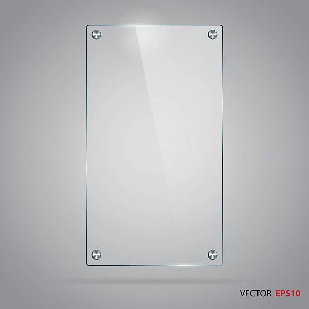 ilustrações de stock, clip art, desenhos animados e ícones de vetor de moldura de vidro com rebites em aço inoxidável. - na superfície