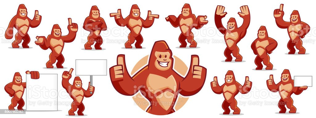 Vector of Gorilla mascot character set vector art illustration