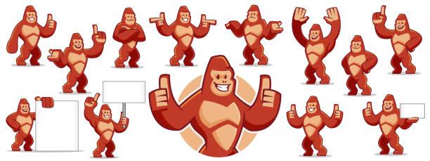 ilustraciones, imágenes clip art, dibujos animados e iconos de stock de vector de conjunto de caracteres de mascota gorila - gorila