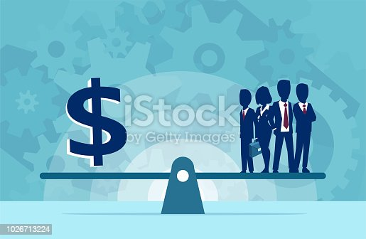 Vector of group of businesspeople human resources or money on the scale. Business concept
