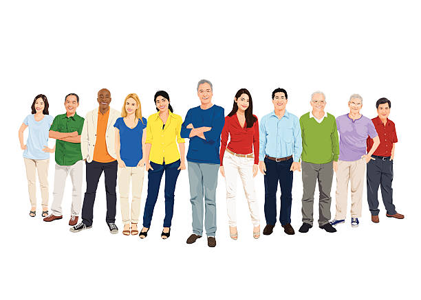 vector of group of multiethnic world people - old man smiling silhouettes stock illustrations, clip art, cartoons, & icons