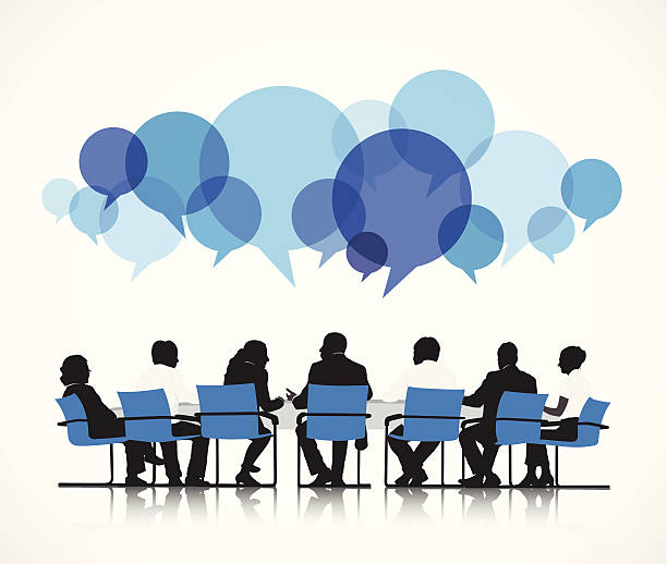Vector of Group of People Discussing Vector of Group of People Discussing meeting stock illustrations