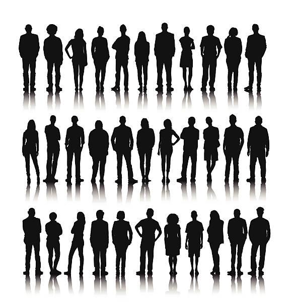grafika wektorowa z grupy ludzi stojących świecie - neutralne tło stock illustrations