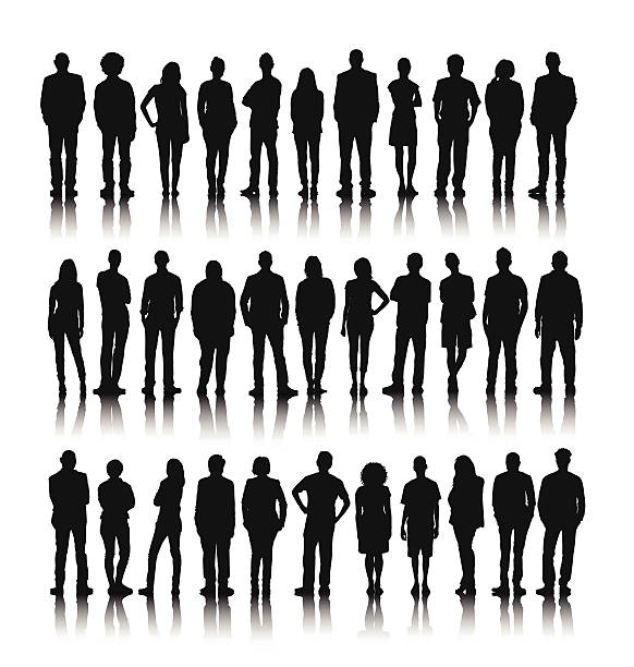 Vector of Group of World People Standing Vector of Group of World People Standing in silhouette stock illustrations
