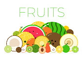 Group with different sorts of fruits with sliced halfs. Vitamin fruit pack. Flat isolated vector on white background