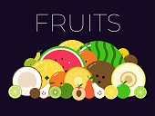 Group with different sorts of fruits with sliced halfs. Vitamin fruit pack. Flat isolated vector on dark background