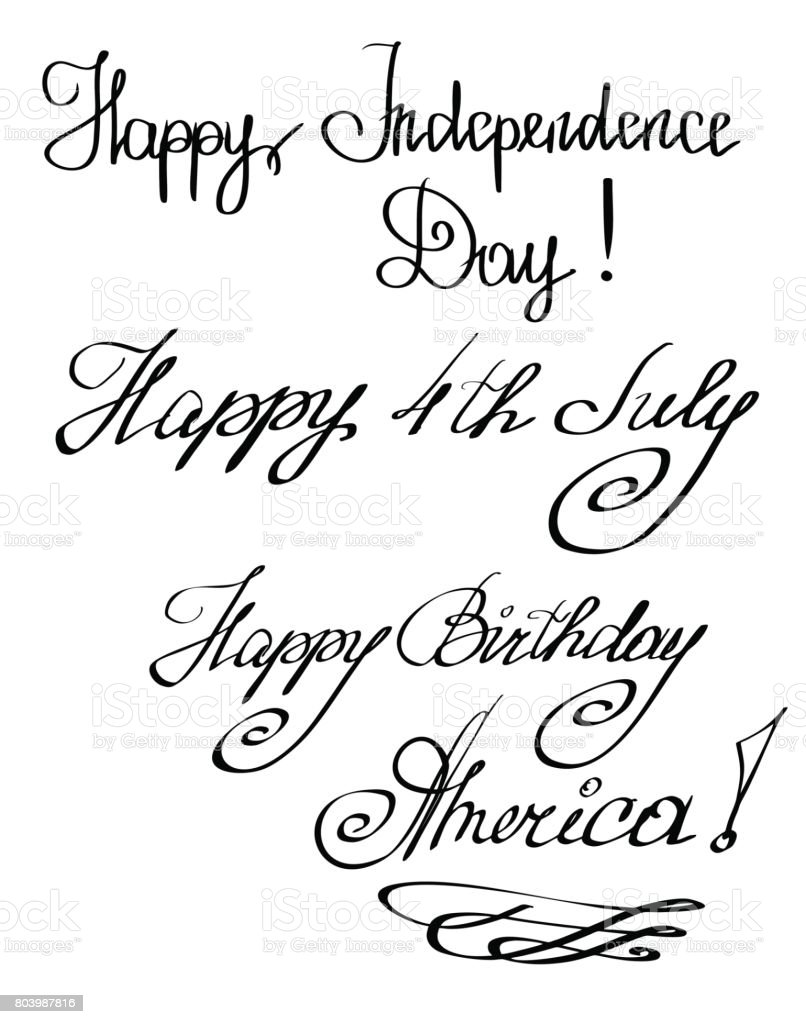 Vector Of Hand Cursive Letters Congratulation On 18th Of July