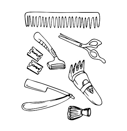 Vector of hand draw Barber tools for Barber shop