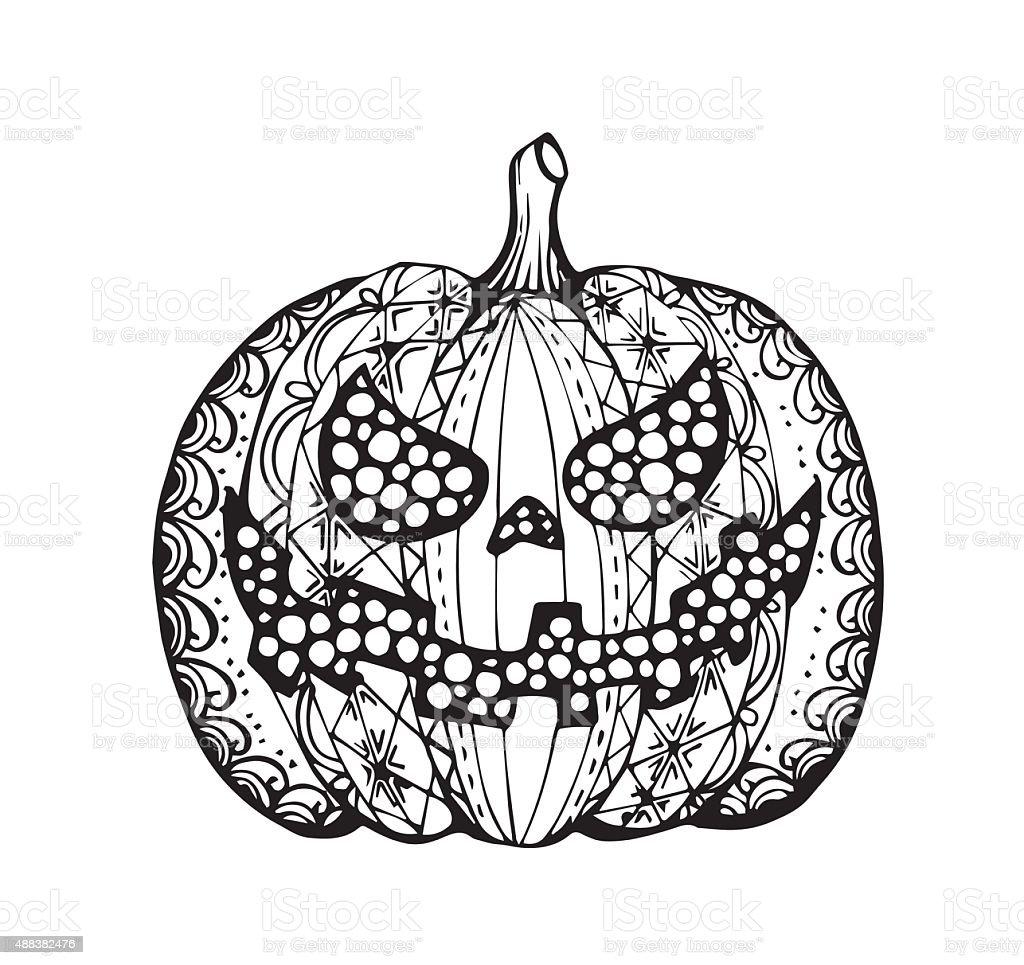 Vektor Von Hand Zeichnen Halloween Kürbis In Zentangle Stil Stock