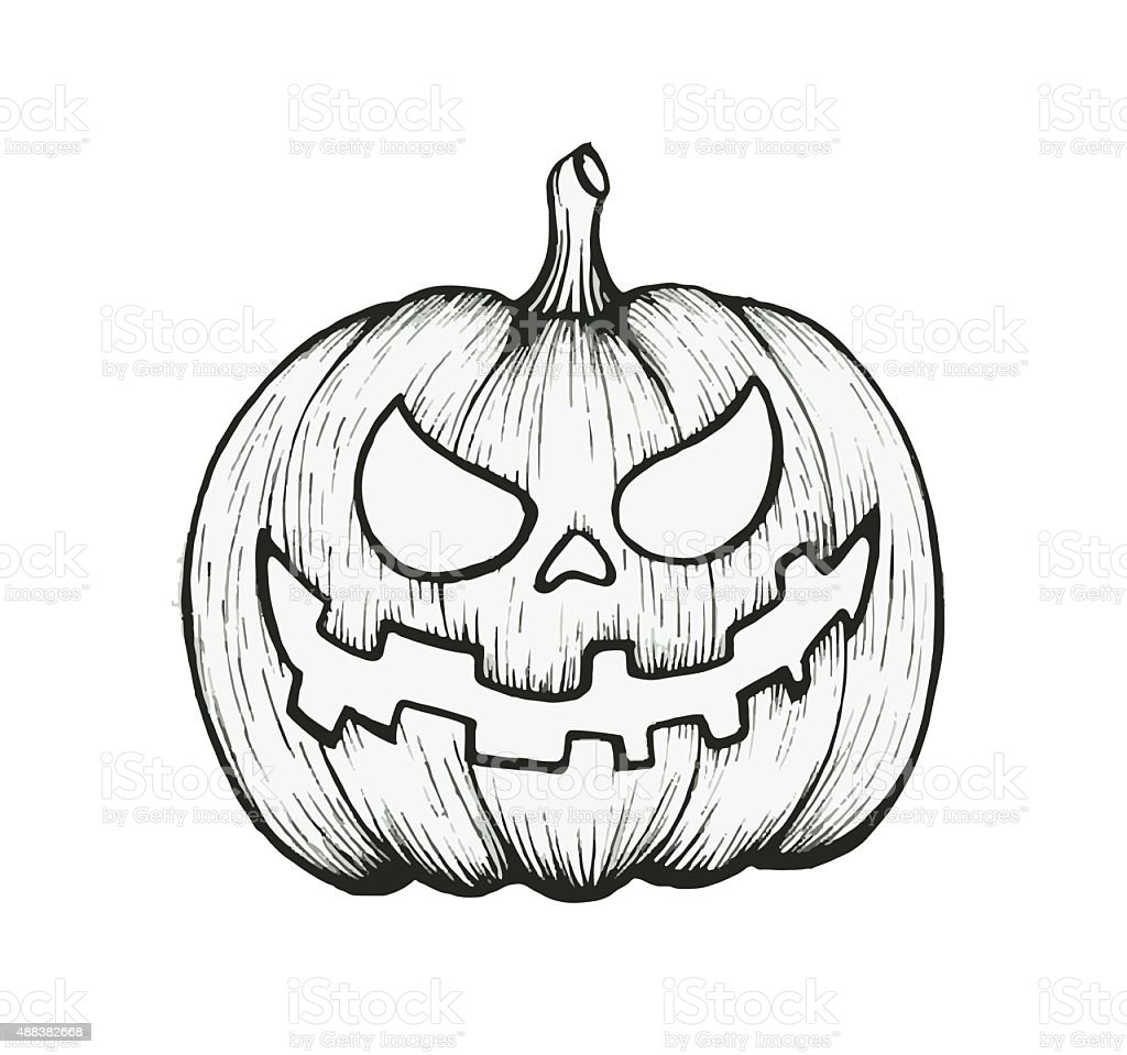 Halloween Pumpkin Drawing Picture.Vector Of Hand Draw Halloween Pumpkin Stock Illustration Download